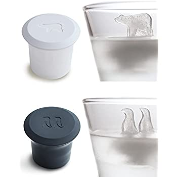 Polar Bear and Penguin Shape Ice Cube Molds Animals Novelty Design Polar Ice Molds for Drink Silicone Ice Cube Trays with Cover