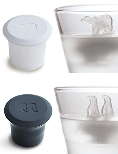(Polar Bear and Penguin Shape Ice Cube Molds Animals Novelty Design Polar Ice Molds for Drink Silicone Ice Cube Trays with Cover )