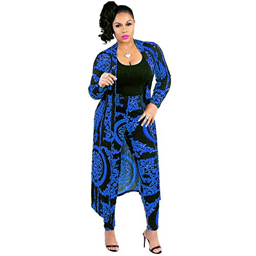 Women 2 Piece Club Outfits Long Sleeve Floral Open Front Cardigan and Pants Set (XX-Large, Blue) ()