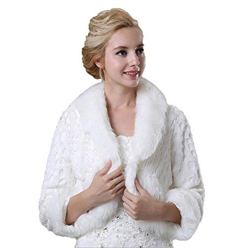 Kelaixiang Women's Winter Long Sleeves Faux Fur Bridal Wedding Coat by Kelaixiang
