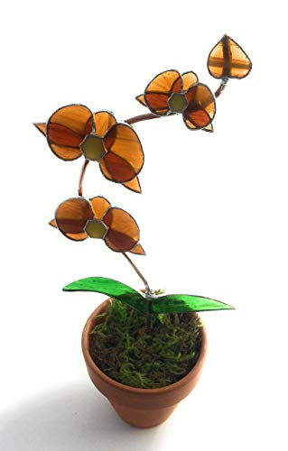 Honey Amber Stained Glass Orchid in Pot - 3D Flowers - Tiffany Style Gift