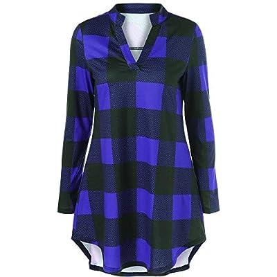 FEITONG Fashion Women V-Neck Long Sleeve Plaid Print Casual Top Blouse T-Shirt