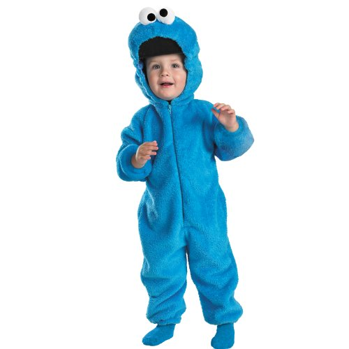 Cookie Monster Deluxe Two-Sided Plush Jumpsuit Costume - Medium (3T-4T) -