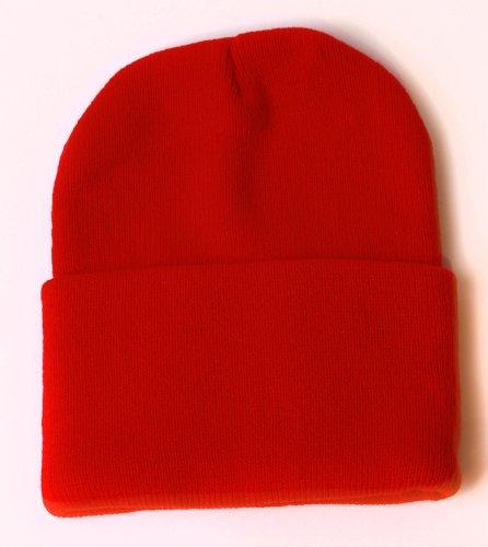 Blank Long Cuff Beanie - Red