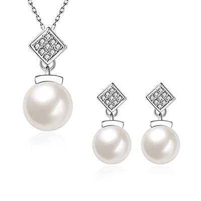 Top Women Fashion Jewelry Set Silver Plated Pearl Zircon Necklace Earrings Set