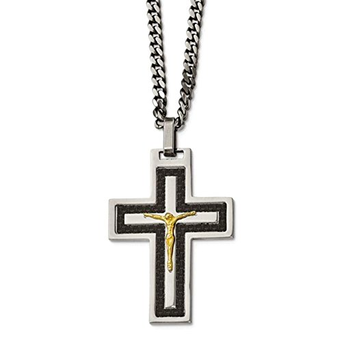 Solid Stainless Steel Polished Blk Carbon Fiber Yellow IP CZ Reverse Crucifix Nec ()