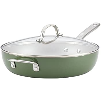Ayesha Curry 10380 Home Collection Deep Nonstick Frying Pan / Fry Pan / Skillet with Lid and Helper Handle - 12 Inch, Green