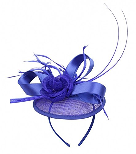 Womans Classy Fascinator Headpiece with Ribbon and Flower trim - Sinamay fabric - Royal Blue by Angela & Williams Classic