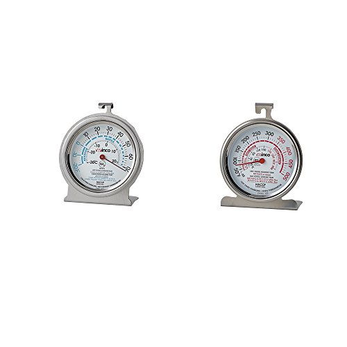 Price comparison product image Culinary Depot (1) Oven Thermometer 50 – 500 Degrees (1) refrigerator/Freezer thermometer-20 – 70 Degrees 3 Inch Commercial stainless thermometer with Hook & Panel base (Set of 2)