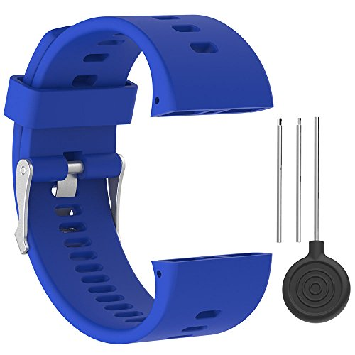 QGHXO Band for Polar V800, Soft Adjustable Silicone Replacement Wrist Watch Band for Polar V800 GPS Sports Watch (No Tracker) (Blue)