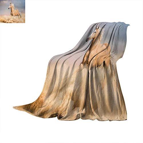 Horses Digital Printing Blanket Palomino Horse in Sand Desert with Long Blond Male Hair Power Wild Animal Summer Quilt Comforter 62
