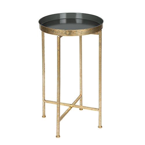 Kate and Laurel 211071 Celia Round Metal Foldable Tray Accent Table, 14x14x25.75, Gold/Gray