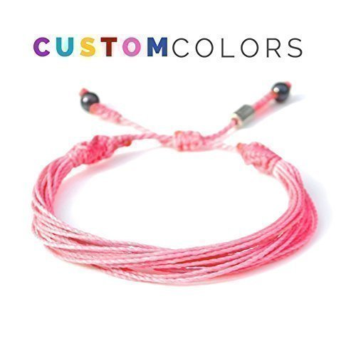 Awareness Bracelet in Custom Colors for Men and Women: Multistrand String Friendship Cause Bracelet with Hematite Stones by Rumi Sumaq ()