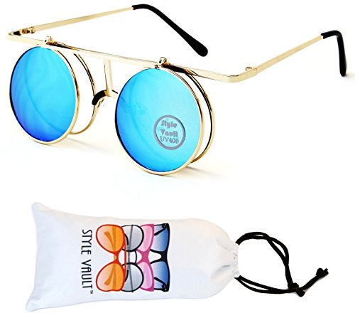 [V164-vp Style Vault Round Metal Django Flip up Sunglasses (098 Gold-Blue Mirror, clear)] (70s Punk Costumes)