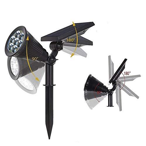 Appreciis Solar Adjustable Spotlight Light Landscape Dark Sensing On/Off Security Night Lights for Patio Yard Pool (2