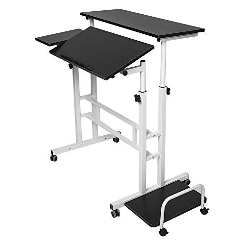 ASOBIMONO Premium Computer Desk, Sitting & Standing Laptop Table Desktop Holder Cart with Keyboard Tray and Host Shelves for Home, Office, Library(US Stock) (Black)