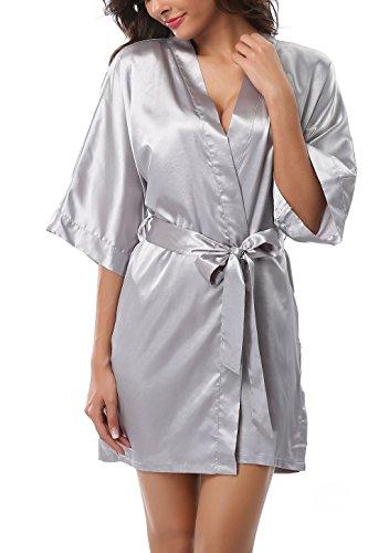 (ABC-STAR Womens Short Satin Kimono Robe for Wedding Bridal Party Bridesmaid Robe, Gray, M)