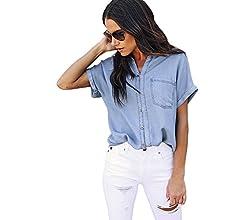 MINXINWY Camisas Camisetas Mujer Verano Originales, Moda Camisetas de Manga Corta Mujeres Camiseta de Mezclilla Camiseta con Cuello en V con Bolsillo Azul Vaquero Blusas: Amazon.es: Deportes y aire libre