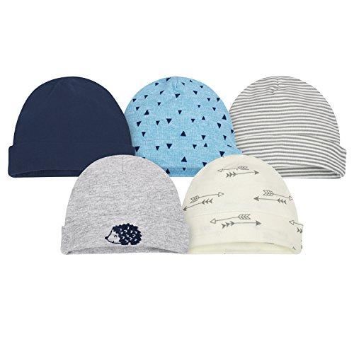 Gerber Baby Boys' 5 Pack Caps, Hedgehog, Newborn