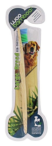 WOOBAMBOO Soft Dog Toothbrush, Large, Blue/Green, 5 - Whl Handle