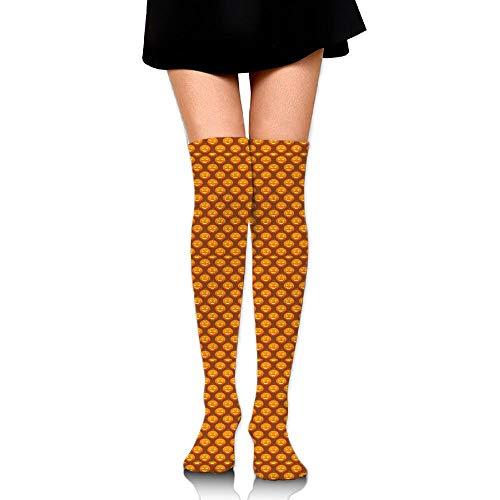 RobotDayUpUP Free Halloween Pumpkins Pattern Womens Long Socks,Lovely Girls Skirt Stockings Knee Thigh Socks for Running Soccer Sports Dance Yoga Cycling Hiking Outdoor