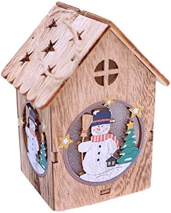 Pumbaa Christmas Tree Decoration LED Hanging Wooden House Fairy Light Year Wedding Garland Year Christmas Decor for Home