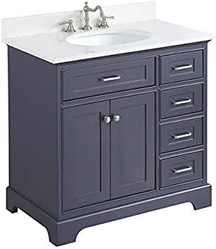 Aria 36 Inch Bathroom Vanity Quartz Charcoal Gray Includes