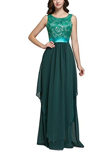 Lang Abendkleider Kleider Chiffon Rockabilly Grün Elegant Oudan Blumen Swing Spitze Damen Weste Sommer Cocktailkleider Ig67qvxR