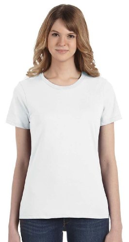 Fashion Ringspun T-shirt - Anvil 880 Ladies Fashion Fit Ringspun T-shirt WHITE Small