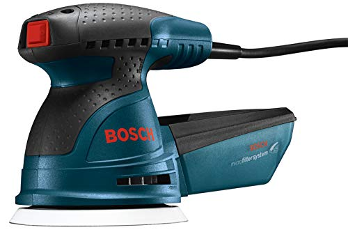 Bosch ROS20VSC Palm Sander - 2.5 Amp 5 in. Corded Variable Speed Random Orbital Sander/Polisher Kit with Dust Collector and Soft Carrying Bag ()