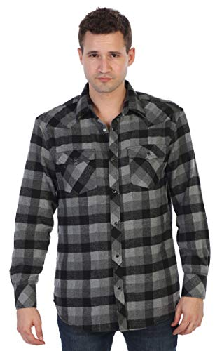 Gioberti Men's Western Brushed Flannel Plaid Checkered Shirt w/Snap-on Button, Charcoal/Gray/Black, ()