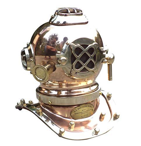 Collectibles Buy Antique Marine Mini Diving Helmet Replica Mark Us Navy Nautical Copper Finish (Copper)