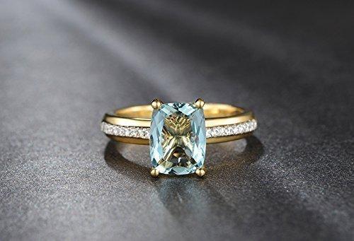 Solid 18K yellow promise ring,0.17ct SI-H Diamond Engagement ring,Cushion 2.15ct Natural VVS blue Aquamarine,Prong set ()