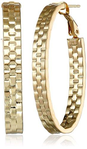 14k Yellow Gold Italian Fancy Basket Weave Pattern Oval Hoop Earrings 14k Yellow Gold Pattern
