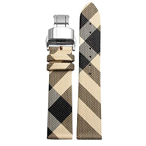 Choco&Man US Burberry Calfskin Leather Watch Band Deployment Butterfly Buckle with Spring Bar and Spring Bars Bonus Replacement for Men's Burberry ()