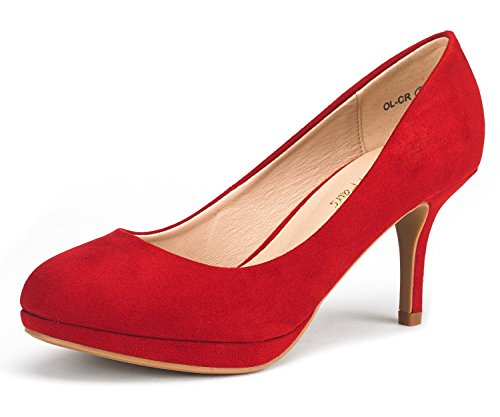 DREAM PAIRS Women's OL-CR Red Suede Low Heel Stiletto Pump Shoes - 5 M US