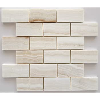 3x6 Pearl White Onyx Subway Brick Polished Tiles for Backsplash ...