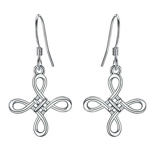 BriLove 925 Sterling Silver Cross Earrings Celtic Knot Cross Irish Good Luck Hook Dangle Earrings for Women