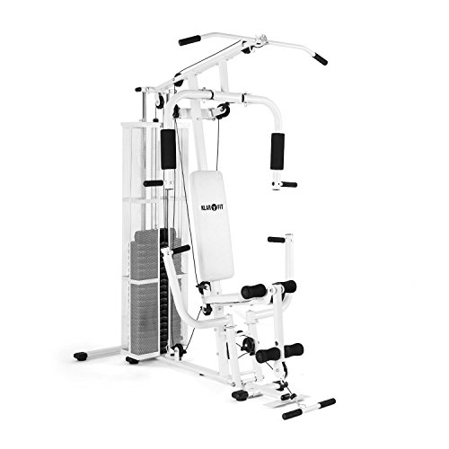 Klarfit Ultimate Gym 3000 Multi Fitness-Station Homegym Kraftstation Arme, Beine, Rücken, Schultern und Brust Trainings-Station (Seilzügen, verstellbare Gewichte, Polster) schwarz oder weiß