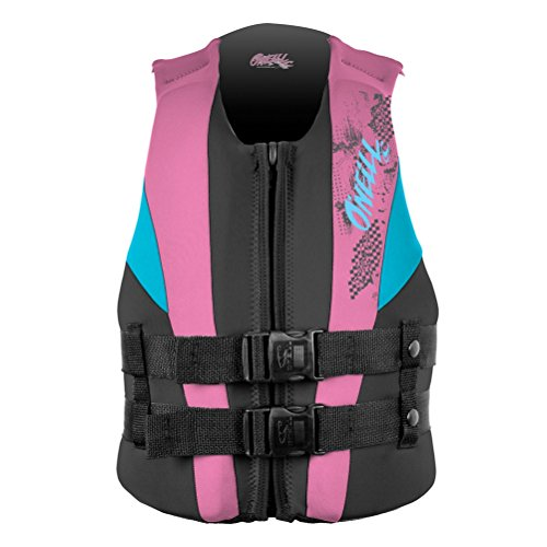 Vest Child Neoprene (O'Neill Youth Reactor USCG Life Vest, Black/Pink/Turqouise, 50-90 lbs)