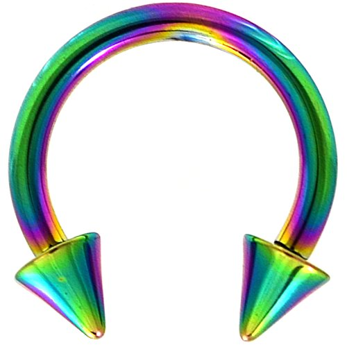 14G(1.6mm) Rainbow Titanium IP Steel Circular Barbells Horseshoe Rings w/Spike Ends (Sold in Pairs) (14 Gauge 3/8