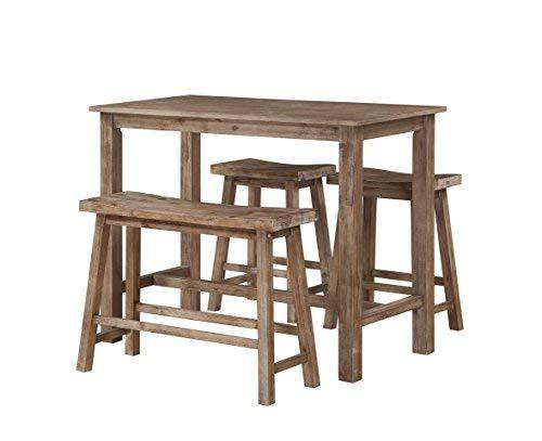 Boraam 75027 4 Piece Sonoma Pub Table Set, Neutral Driftwood Gray Finish, 36 x 47.25 x 23.75, by Boraam