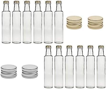 Juego de 12 botellas de cristal Dorica, capacidad de 250 ml, tapón de rosca plateado, mosto, zumo, cerveza, licor, vinagre y aceite (plata, 12 unidades)