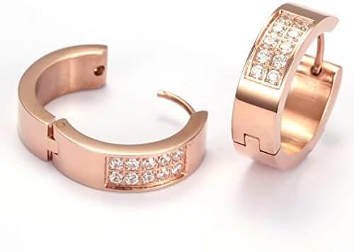 Red Plume® Rose Gold Titanium steel Crystal Jewelry Hypoallergenic Diamond Round Hoop Earrings (Rose-gold)