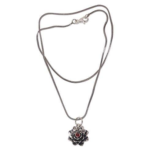 NOVICA Garnet .925 Sterling Silver Handmade Flower Pendant Necklace 'Sacred Red Lotus', 17
