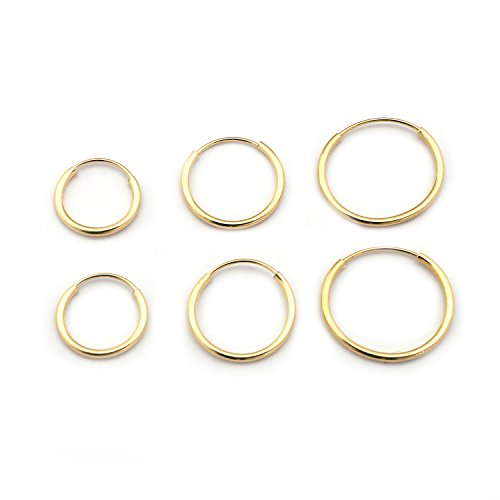 14k Yellow Gold 10mm, 12mm and 14mm Endless Hoop Earrings Set (Earring Hoop Set 14k)