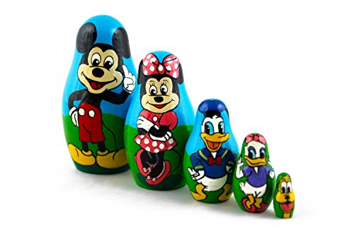 Matryoshka Babushka Russian Nesting Wooden Doll Cartoon Mickey Mouse Minnie Donald Duck Babouska Matrioska Stacking 5 Pcs by MATRYOSHKA&HANDICRAFT (Image #7)
