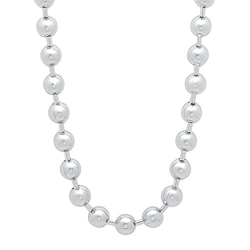 6.5mm Rhodium Plated Ball Chain Necklace, 16