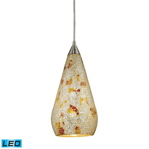 Elk 546-1SLVM-CRC-LED Curvalo 1-LED Light Pendant with Silver Multicolored Crackle Glass Shade, 6 by 13-Inch, Satin Nickel Finish