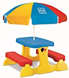 Grow'n Up Qwikfold Picnic Table with Umbrella, Red, Blue, Yellow
